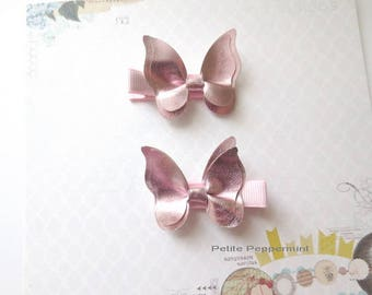 Set of Two Pink Butterfly Baby Hair Clip, Baby Girl Hair Clip, Toddler Hair Clip, Little Girl Hair Clip,Girl Hair Clip,Infant Hair Clip