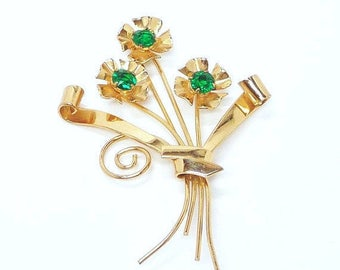 Vintage Sterling Flower Bouquet - Designer Signed Coro Brooch - Green Rhinestones
