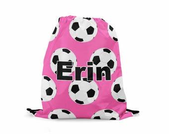 Personalized Kids Drawstring Backpack Kids Cinch Sack Cinch Bag Soccer Drawstring Back Pack Carry All Shoe Bag Tote Bag Kids Bag Soccer Bag