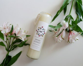 MAKE LOVELY Meditation Candle - Geranium Rose - 16 oz - all natural, eco-friendly 100% soy wax candle