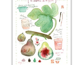 Fig marmalade recipe print, Botanical poster, Food artwork, Kitchen decor, Summer fruit art, Watercolor painting, Fig illustration, Fig leaf