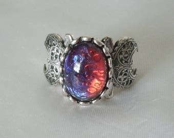 Dragons Breath Fire Opal Triple Moon Ring, wiccan jewelry pagan jewelry wicca jewelry goddess jewelry witch witchcraft gothic wiccan ring