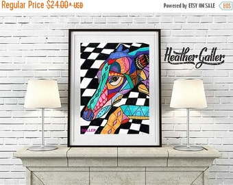 50% Off Today- Greyhound art Art Print Poster by Heather Galler - Angel of the Day Passed Pet (HG496)