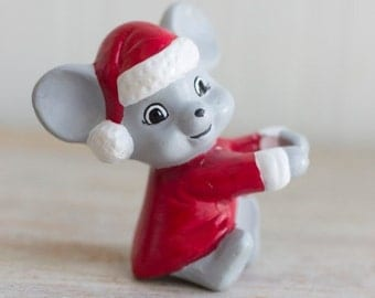 Vintage Christmas Mouse Candle Hugger, Kitsch Holiday Decor, Taper Candle Hugger, Red Gray White