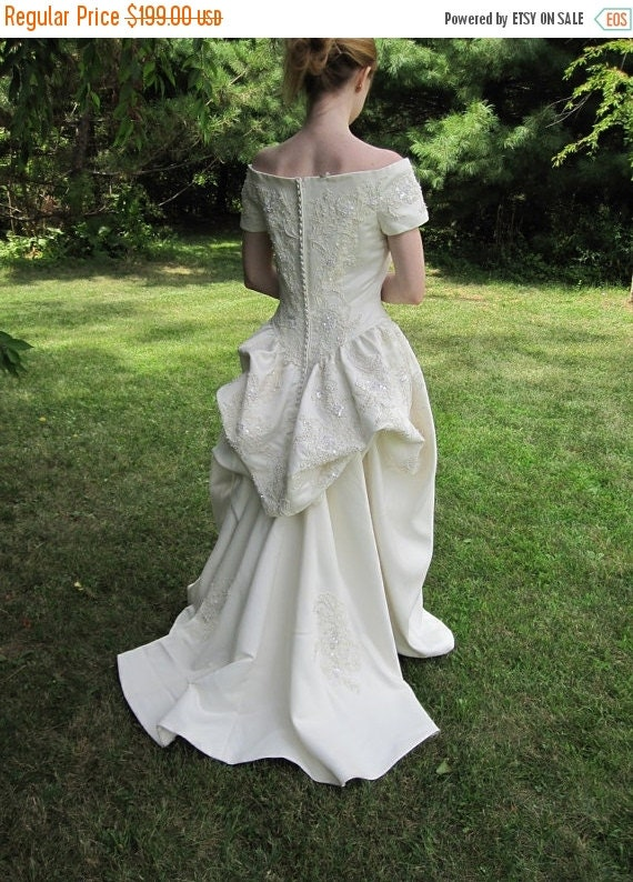 On Sale 1980's Beaded Wedding Gown Dress w/ Bead Bodice Strapless Bustle Ivory 67