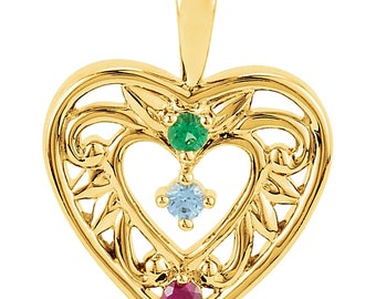 Family Birthstone Intricate Heart Pendant, 14K Gold Pendant, Custom-Made for Your Family, 1 to 5 Stones, Family Birthstone Pendant Necklace