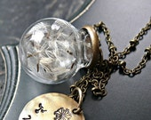 ON SALE Dandelion Seed Globe Necklace, Dandelion Necklace, Dandelion Seeds, Wish Necklace, Wish Jewelry, Wish You Were Here