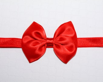 Red Satin Bow Headband. Red Bow Headband. Snow White, Valentine's Day, Christmas, 4th of July. Baby Hair Accessories. Girls Hair Accessories