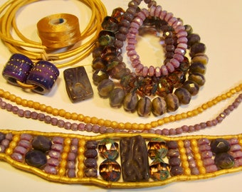 Reserved for Diana Jonas   MATERIALS ONLY for our Maui Single Wrap Leather Bracelet in Purple and Gold Colors