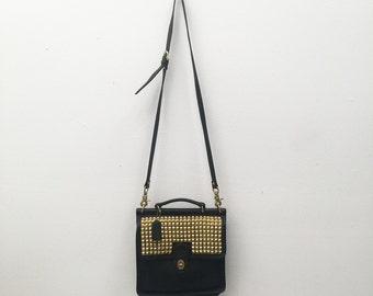 Hand studded black vintage coach bag