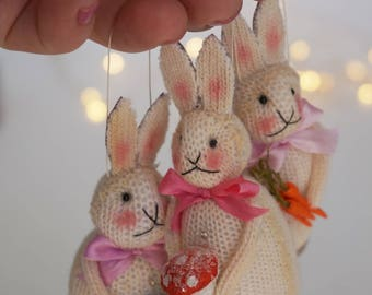 Trio of  Vintage Inspired  Easter Bunny Ornaments