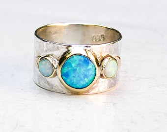 Unique Engagement Ring, Opal Ring, Gold and Silver, Hammered silver sterling, Wedding Ring, Gemstone Ring, Engagement Ring, Anniversary Ring