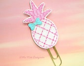 Pink Pineapple Glitter Paperclip