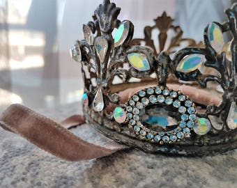 OOAK Beautiful and Romantic headband crown with beads and crystal.