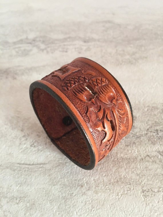 Men's Brown Leather Cuff (Size 7.0 inches)