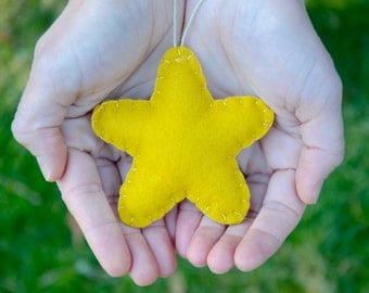 Star Christmas Ornament, Wool Felt Star Holiday Ornament, Mustard Grey Ornament, Rustic Holiday Decor, READY TO SHIP