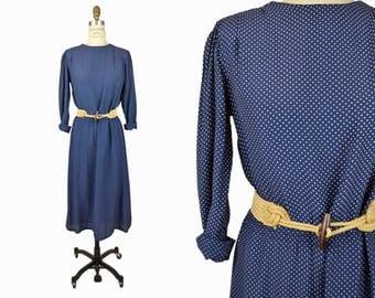 Vintage 80s Polka Dot Day Dress / Navy Blue & White Dress - women's small