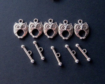 Antiqued Silver Owl Toggle Clasps, Ring and Bar, Necklace Closure, Jewelry Findings, Craft Supplies, Clasp Findings, Set of 5