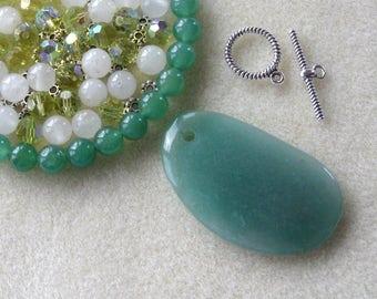 Green Aventurine Pendant and Beads, Snow Quartz, Glass Beads, DIY Jewelry Kit, Gemstone Beads, Jewelry Making Beads, Necklace Kit,  Green