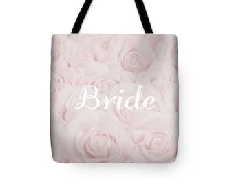 """Blush Pink """"Bride"""" Tote Bag, Shopping Bag, floral print, gift for bride bridal gift, bridal shower gift, destination wedding- 1610PKBRIDE"""