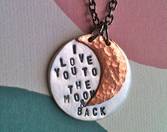 Custom Listing For Dorinda-I  Love You To The Moon & Back...Handstamped Necklace