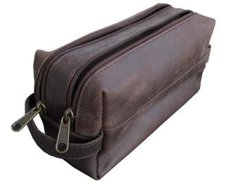 Leather Toiletry Bag Men's Shaving Grooming Bag Dopp Kit Toiletry Travel Case in Dark Brown