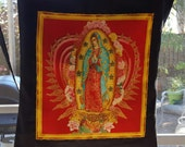 Our Lady Of Guadalupe  Market Bag made from Reclaimed Fabric Shopping Tote