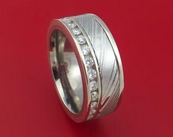 14K White Gold and Diamond Eternity Ring with Kuro Damascus Steel and Titanium Sleeve Custom Made Band