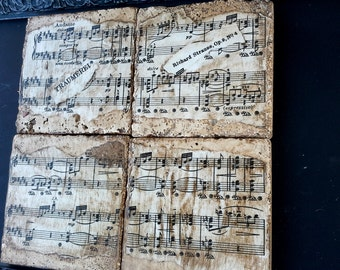 Classical Music Coasters, Traumerei by Richard Strauss, Op 9 No.4 re purposed tiles, vintage sheet music, set of four, 4 x 4 inches