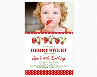 Strawberry Birthday Party Invitation, Photo, Personalized, Printable and Printed