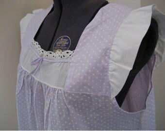 Vintage 1960s Womens Schrank Calf Length Pajamas Capri PJs Cotton Lavender Lilac Polka Dot Size 36 Medium
