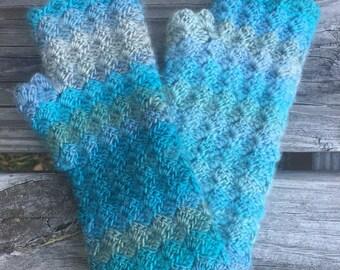 Crochet Wrist Warmers | Blue