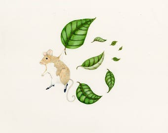 Mouse Flight Original watercolor painting of Mouse with Leaves. Paper size 14x11 inches