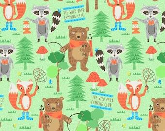 Blank Quilting Camping Club Woodland Animals fabric - 1 yard