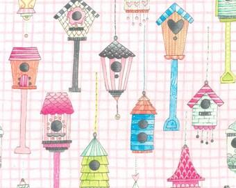 Michael Miller Tweet Me Pink Love Shack Birdhouses Fabric - 1 yard
