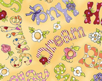 NEW Loralie Designs Happy Cats Happy Words Buttercup fabric - 1 yard