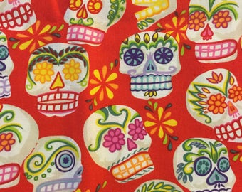 Quilter Quality Fabric - Alexander Henry Fabric  - OOP-Mini Calaveras 2005 Collection-Colossal Skulls. FAT QUARTERS