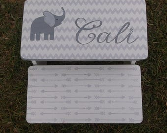 Arrows and Elephants,personalized gifts, Grey Gray, Step stool for children, Bathroom stool,Benches, Tribal,