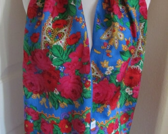 ECHO // Beautiful Blue Floral Soft Silk Scarf // 11 x 52 Long