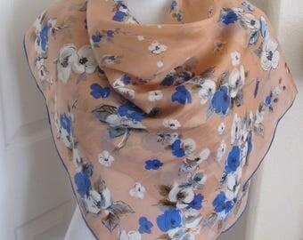 "Rare Vintage Peach Floral Hankie Style Soft Silk Scarf  - 35"" Inch 92cm Square"