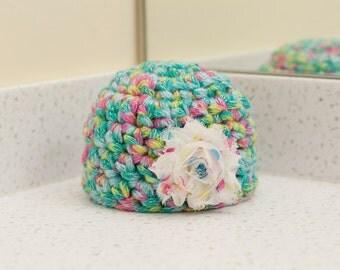 Newborn Girl Rainbow Fabric Flower Hat Spring Beanie Baby Photo Prop RTS Muliticolor Easter