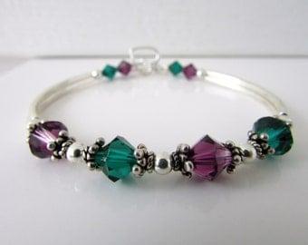 Emerald Amethyst Bracelet, Birthstone Bracelet, Bangle Bracelet, Beaded Bracelet, Swarovski Bracelet, Swarovski Jewelry, Free US Shipping