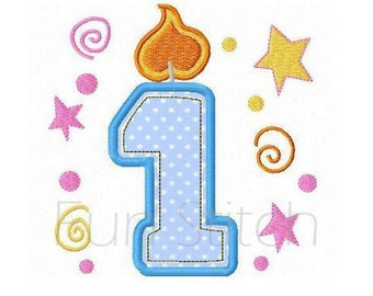 set of 9 birthday candle applique numbers machine embroidery design