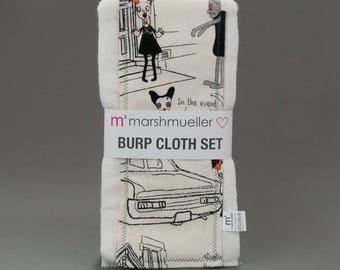 Burp Cloth Set in Ivory Zombies Print, Baby Burp Rag Set, Baby Shower Gift, New Baby Gift Under 25, 2 Pack Burp Cloth Set, Walking Dead