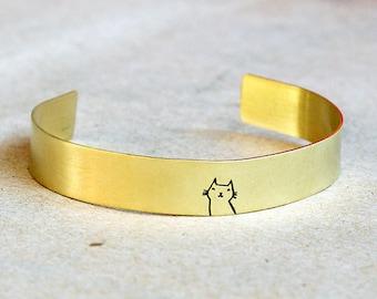 Adjustable cat cuff bangle bracelet // raw brass // hand stamped jewelry