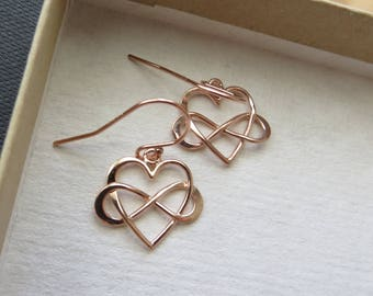 Rose gold Infinity heart earrings, maid of honor gift, infinity earring, light weight, 3 finishes available