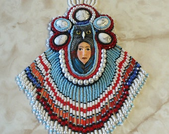 Owl Feather Medicine Woman Bead Embroidered Necklace
