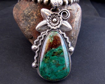 Chrysocolla Azteca Sterling Silver Pendant