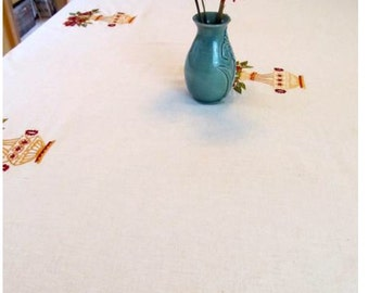 Tablecloth #54:  Linen Cotton and Embroidered Tablecloth, Table Cloth, Table Cloths, Tablecloths, Table Linen,  Home Decor, Dinner Table,