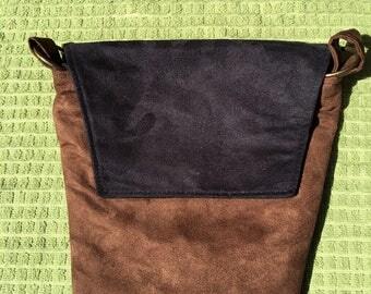 Rebecca #07,  Black and Brown Suede Bag, Shoulder Purse, Medium Purse, Cross Body Purse, Cross Body Bag, Bags,Purses, Cross Body Bags,Purses
